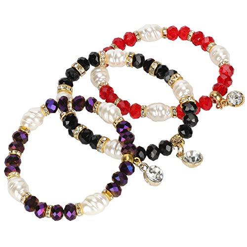 Pulsera con cuentas, elegante y elegante cordón elástico de alta calidad y cristal Elegante pulsera de cristal, resistente para regalos en casa