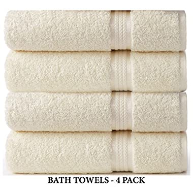 Cotton Craft - 4 Pack - Ultra Soft Oversized Extra Large Bath Towels 30x54 Ivory - 100% Pure Ringspun Cotton - Luxurious Rayon trim - Ideal for Daily Use - Each Towel Weighs 22 Ounces