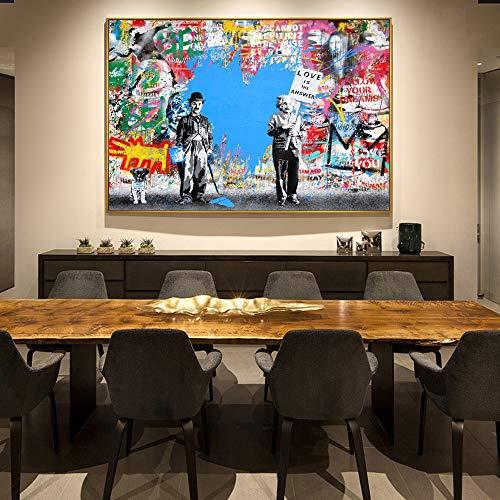 tzxdbh Einstein muur Graffiti Art Decoratieve Canvas Prints Chaplin Abstract Canvas Art Schilderen Moderne Cuadros Foto's Voor Woonkamer-in 30x45cm No Frame