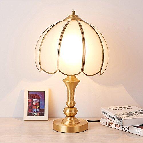 5151BuyWorld Ledlamp, tafellamp, koper, lichtkop, lampenkap van glas, voor slaapkamer, woonkamer, nachtkastje, bureaulamp, verlichting