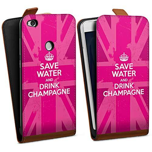 DeinDesign Tasche kompatibel mit Huawei P8 Lite 2017 Flip Case Hülle Champagner Krone Crown