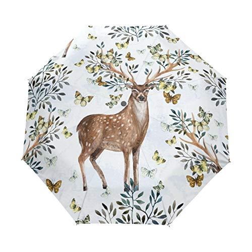 RELEESSS Reise-Regenschirm, faltbar, Tier, Hirsch, Schmetterling, kompakt, winddicht, tragbar, Regenschirm für Damen und Herren, Unisex