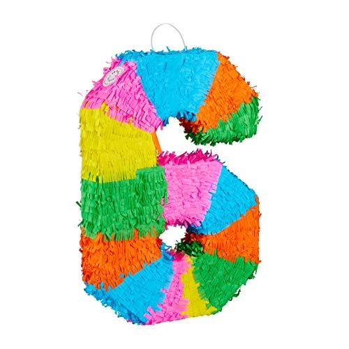 Relaxdays 10025189_908 Pinata Geburtstag, Zahl 6, zum Aufhängen, Kinder & Erwachsene, Papier, zum selbst Befüllen, Piñata, bunt