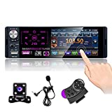 CAMECHO Bluetooth Car Radio 4'' Capacitive Touch Screen Single Din Car Stereo FM/AM/RDS Radio Receiver with Dual USB/AUX-in/SD card Port + Backup Camera + Steering Wheel Control