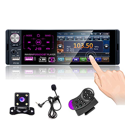 CAMECHO Stereo Bluetooth Car Radio 4 '' Touch Screen Capacitivo Single DIN Autoradio FM/AM/RDS Radio con Doppia Porta USB/AUX-in/Scheda SD + Telecamera di Backup + Controllo del Volante