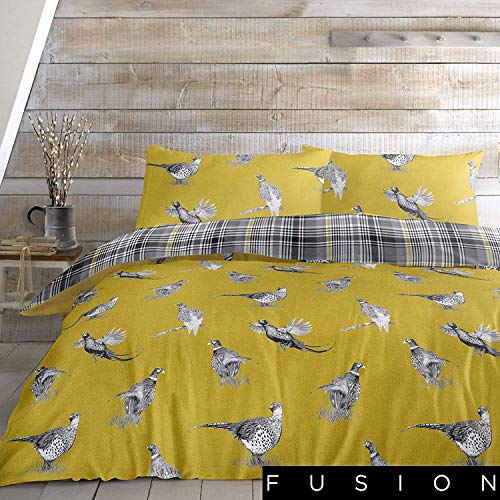 Fusion Pickering-100% Brushed Duvet Cover Set, Cotton, Multicolour, King