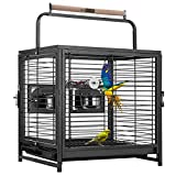 STURDY CONSTRUCTION - Made of a premium low-carbon steel frame with a black coating that makes this bird cage sturdy, durable, even against playful birds; Guaranteed to resist wear and rust PORTABLE AND LIGHTWEIGHT - This bird cage is just 13lbs, whi...
