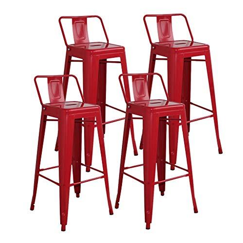 CYLQ barkruk van metaal, tegen hoogte van barstoelen, stapelbaar, voor binnen en buiten, terrasmeubelen om te eten, zonder rug, keuken, hoge stoel voor bar, set met 4 maten