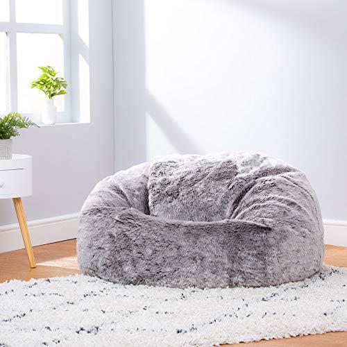 Icon Klassischer Sitzsack aus Kunstpelz, Sitzsäcke für das Wohnzimmer, 85cm x 50cm, Groß, Stuhl für das Schlafzimmer (Arktischer Wolf Grau) - 5