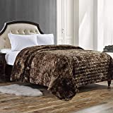 Faux Fur Bed Blanket Soft Cozy Warm Fluffy Variation Print Minky Fleece Throw Blanket, Brown, 90'×90'
