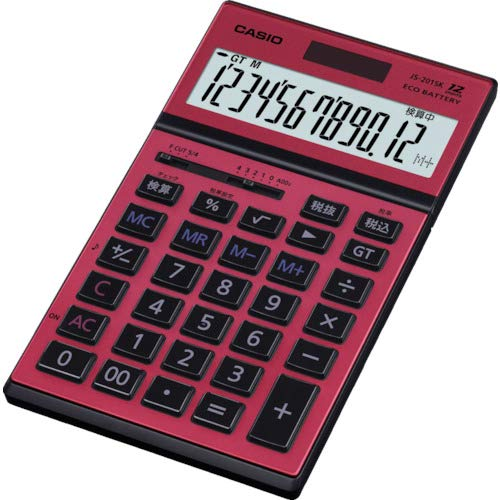 カシオ実務電卓12桁JS-201SK-RD-Nレッドジャスト・スリムタイプ