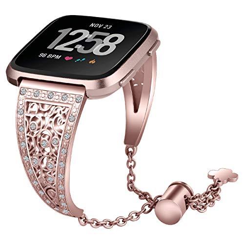 MVRYCE Uhrenarmband Kompatibel für Fitbit Versa/Versa 2/Versa Lite, Damen Bling Strass Edelstahl Armband Metall Ersatzband Schmuck Armreif Armband mit Verstellbarem Schloss (Roségold)