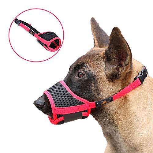 Afocuz Maulkorb für Hunde, atmungsaktives Netz und strapazierfähiges Nylon, mit verstellbarer Schlaufe und weichem Pad, Anti-Bellen und Kauen