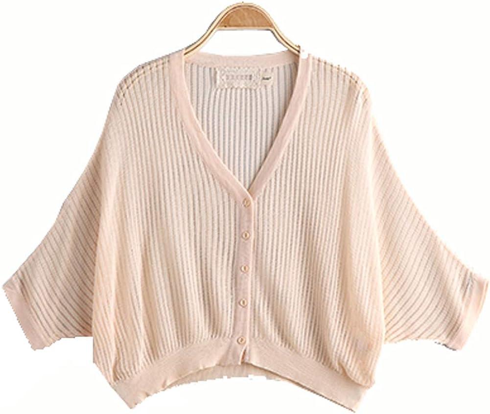 Trendy XU Summer Women Knitted Cardigan Free Size V-Neck Grid Hollow Bolero Shrug Shawl