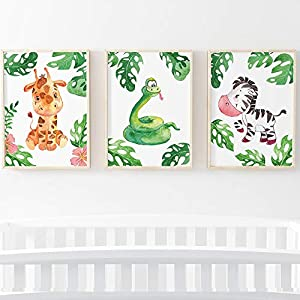 Sweet Pea Prints Jungle Safari Animal Nursery Picture Prints A4 Poster for Baby Boy or Girl. [Picture Frames NOT Included] (3 Set – Snake, Zebra, Giraffe)