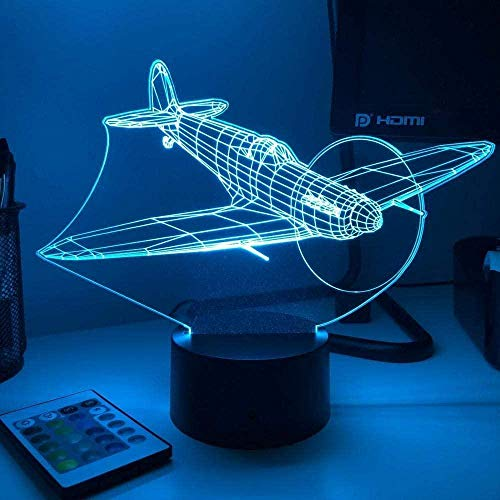 LSDAMN 3D Illusion Lamp Led Night Light Spitfire Fighter Plane Optical Home Decoration Creative Children s Birthday Holiday Gift Table Lamp