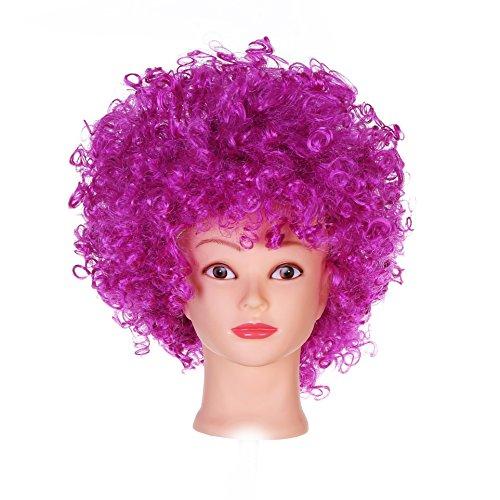 BFD 1 unisex krullend funky afro pruik disco clown heren/dames 12 kleuren om uit te kiezen - paars