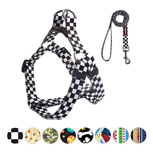 QQPETS Beautiful Dog Harness and Leash Set No-Pull Dog Harness for Medium Puppy Breed Girl Boy Adjustable Chest:19-26' Multi-Colored Black White Plaid Pattern