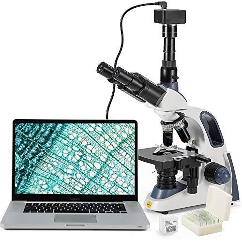 Microscopio Swift SW380T-SC500-CK-5PBC Microscopio da laboratorio composto trinoculare, 40X-2500X, testa Siedentopf, palco meccanico a due strati con telecamera da 5mp, diapositive(PRISE UK)