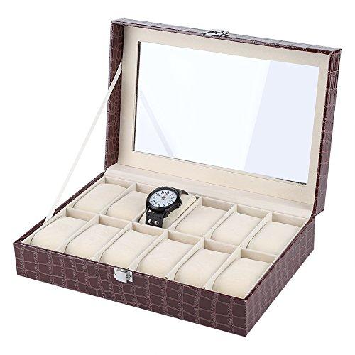 Hakeeta Caja de Reloj y joyero de Cuero con 12 Ranuras, vitrinas...