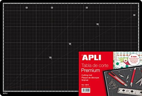 Apli 013919 Tapis de Découpe Premium en PVC, A3, 450 x 300 x 5 mm, Noir
