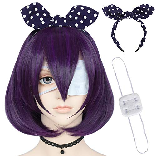 ANOGOL Wig Cap+{ 1 Eye Patch + 1 Bow Headband } Short Bob Wig with Bangs Dark Purple Cosplay Wig for Women Nature Wavy Synthetic Wigs
