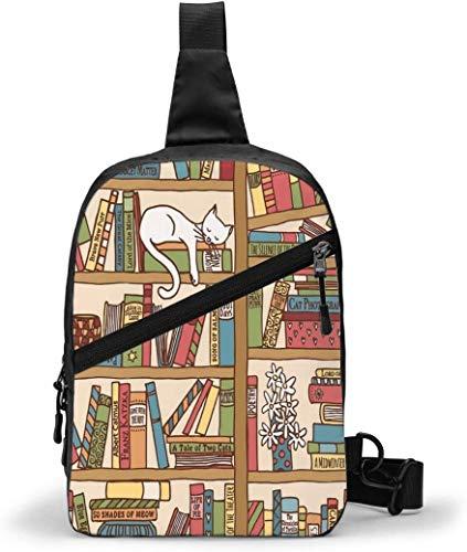 Book Shelf Bookcase Sling Bag,Crossbody Shoulder Chest Outdoor Hiking Travel Personal Pocket Bag for Women Men Water Resistance