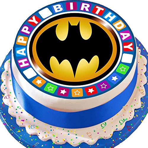 Vorgeschnittener Kuchen-Topper mit Batman-Motiv und Bordüre, essbar, aus Zuckerguss,rund, 19 cm