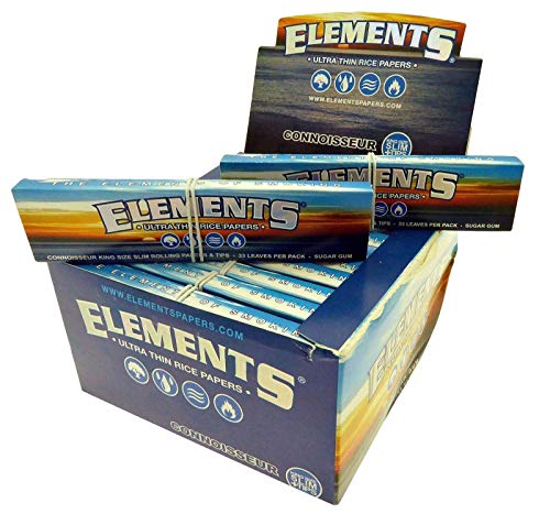 24 Elements Connoisseur King Size Slim 110mm Rolling Papers & Tips Full Box