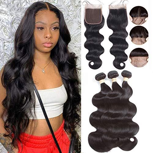 "Brazilian Body Wave Human Hair Bundles with Closure 18 20 22 with 16""Closure 8A 100% Unprocessed Brazilian Virgin Hair Body Wave 3 Bundles with Free Part 4X4 Lace Closure Natural Color"
