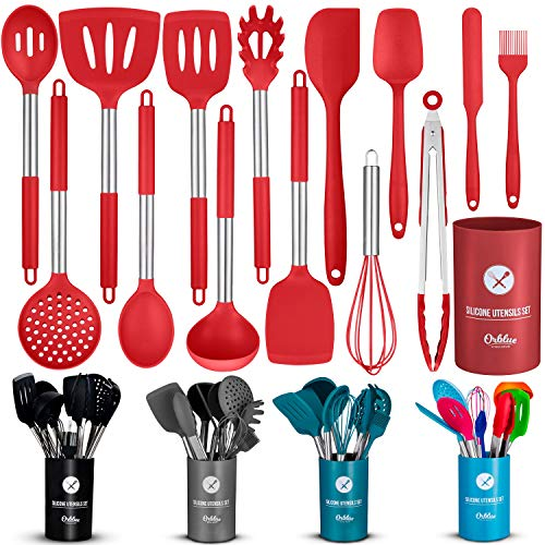ORBLUE Silicone Cooking Utensil Set, 14-Piece Kitchen Utensils with Holder, Safe Food-Grade Silicone Heads and Stainless Steel Handles with Heat-Proof Silicone Handle Covers, Red