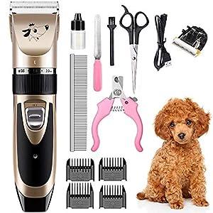 SaponinTree Cortapelo para Perro, Esquiladora Eléctrica Dog Clipper Recargable Mascotas eléctrico bajo Ruido y vibración - Kit de cortapelos Profesional para Mascota Gato
