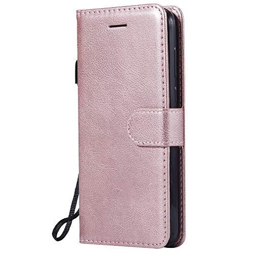 Hülle für Huawei Y5 2018/Honor 7S Hülle Handyhülle [Standfunktion] [Kartenfach] Tasche Flip Hülle Cover Etui Schutzhülle lederhülle flip case für Huawei Y5 2018 - DEKT050959 Rosa Gold