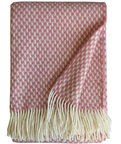 Plaids & Co Manta 100% lana virgen de Nueva Zelanda, manta de lana virgen con flecos, 140 x 200 cm, manta de lana, manta para el salón, colcha para el sofá (Nude Karla)