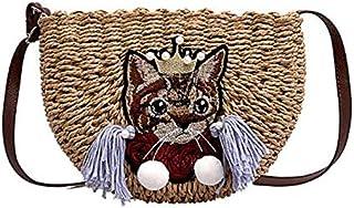 TOOGOO New Handmade Straw Bag Casual Beach Bag Woven Basket Casual Shoulder Handbag Creamy-White