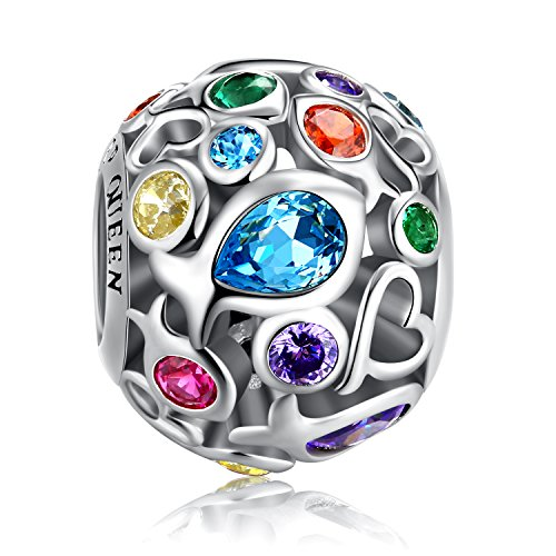 Rainbow Charm for Pandora Charms Bracelet, 925 Sterling Silver Openwork Beads Colorful Bead Charm with Skin-Friendly Fish Cubic Zircon Stone Perfect for Bracelet Necklace FQ0001 (Rainbow Charm)