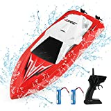 JJRC RC Boats for Pools and Lakes Remote Control Boats for Kids Adults 2.4Ghz Radio Controlled Boat Self Righting Rechargeable 10km/h High Speed Race Boat Toys Gifts for Boys Girls(Red)