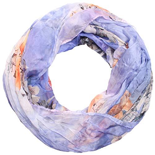Zarter Sommer Crinkle Loopschal Model: Blume3 angenehm und leicht zu tragen, Damen Rundschal, Schal, Loop, Sommerschal (flieder)