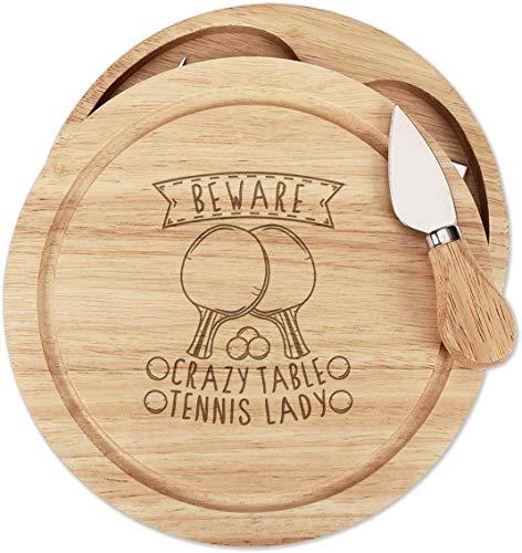 Hüten Sie Sich vor Verrückt Tischtennis Lady Holz Käse Brett Set 4 Messer