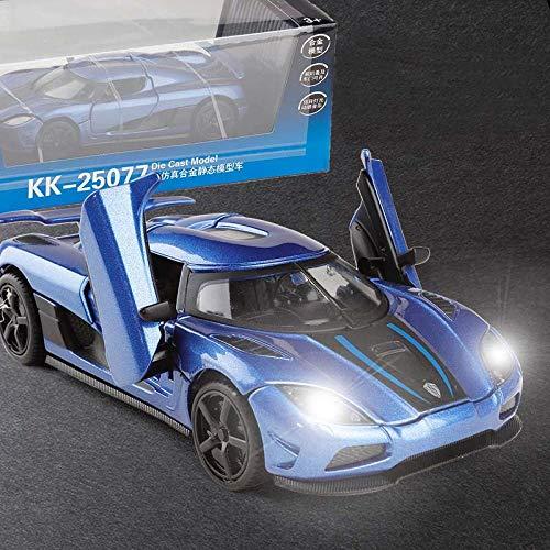 HWGDC Miniatur Modelle 1:32 Koenigsegg Supercar Alloy Diecast Car Model Spielzeugauto Geschenke zurückziehen-Blau