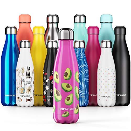 Proworks Bottiglia Acqua in Acciaio Inox, Senza BPA Vuoto Isolato Borraccia Termica in Metallo per Bevande Calde per 12 Ore & Fredde 24 Ore, Borraccia per Sport e Palestra - 500ml - Rosa Caldo Avocado