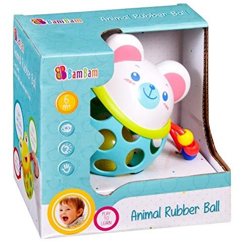 Bambam Hochet pour bébé Balle en Caoutchouc et Plastique Ours Blanc avec Boule a l'intérieur rempli de Petites Billes.