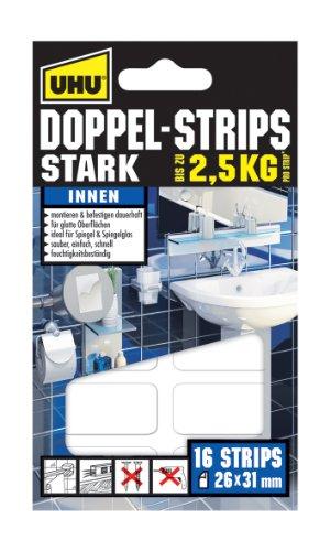 Uhu 45380 Doppel Strips Stark bis zu 2.5 kg, 16 Stück, 26 mm x 31 mm