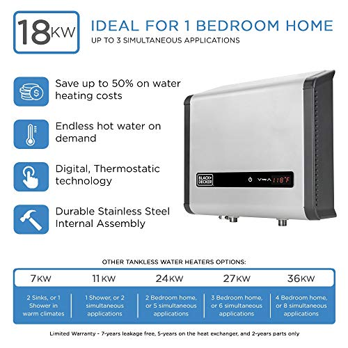 BLACK + DECKER Black and Decker 18 kW 3.7 GPM Electric Tankless Water Heater, Digital Self Modulating Hot Water Heater Electric