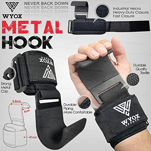 Wyox Sports Heavy Duty Weight Lifting Hooks with Wrist Straps for Pull-ups - Power Lift - Deadlift - Weightlifting Grips and Gym Workout Gloves Straps for Men & Women (Flat Hook, Black)