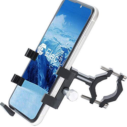 "ELECFUN Bike Phone Mount Motorcycle Premium Aluminum Bicycle Phone Holder, 360° Rotatable, Fits iPhone 11 Pro Max X XR Xs 7s 8 Plus Samsung S20 S7/S6/Note 10/9/8, Fit Any 2.2""-3.9"" Wide Phones, Black"