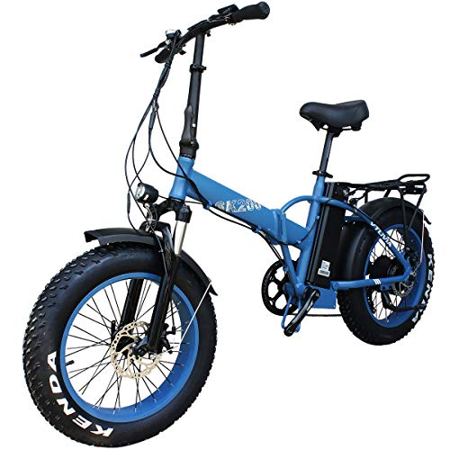 vtuvia 20' Folding Electric Bicycle, 750W 48V Fat Tires Adults Electric Bike, 20 Inch 13AH E-Bikes with Removable Battery, 7-Speed Electric Bike for Men/Women (Blue)