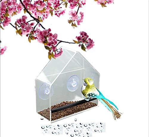 TDOTM Crystal Transparent Acrylic House Shape Window Bird Feeder with 2 Strong...