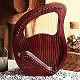 SMAA Bois Lyre Harpe Acajou, 21/24 Instrument à Cordes en Bois Massif os gravé à la Main Cordes Concert Tuning Wrench avec étui de Transport Nettoyage de Cas Tissu,Rouge,24 Strings
