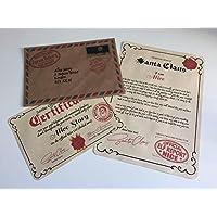 Letra y certificado de Santa Claus personalizable de la fábrica del Reino Unido, Papá Noel, padre, Navidad, cualquier nombre, niño o niña, buena lista de Navidad